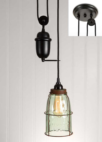 Glass Mason Jar Caged Pendant Light on Pulley System - Adley & Company Inc.