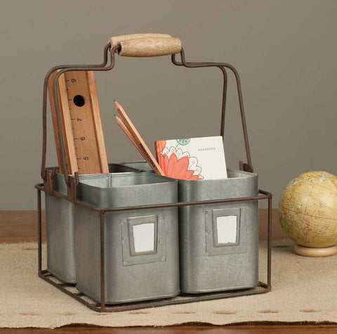 Grey Metal Caddy with Carrying Basket