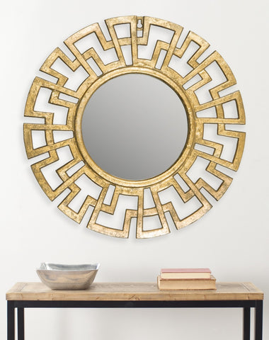 Greek Key Gold Wall Mirror - Adley & Company Inc.