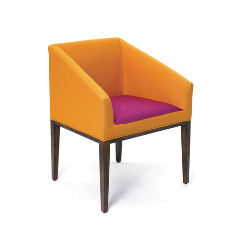 Retro Orange and Fuchsia Upholstered Chair - Adley & Company Inc.