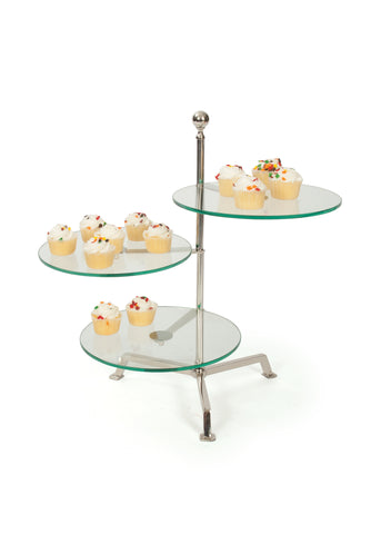 Glass Three Tier Round Display Stand