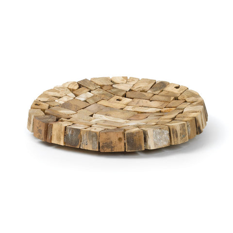 Rustic Round Natural Teak Wood Tray