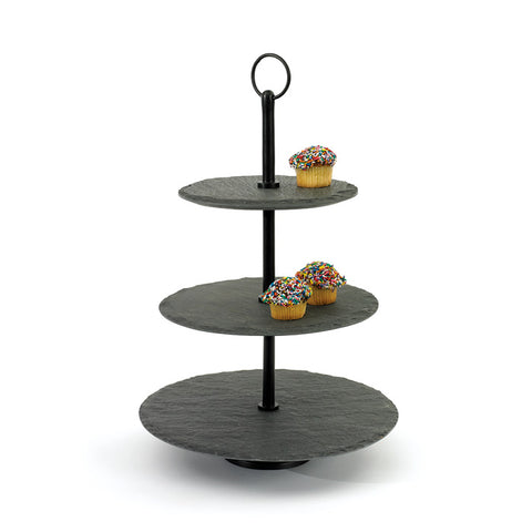 Natural Slate Tiered Dessert Stand Display