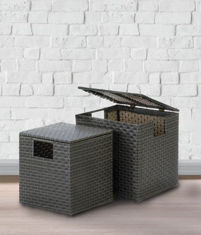 Grey Rattan Storage Boxes