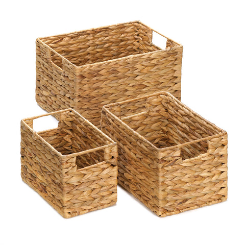 Set of Three Straw Nesting Baskets