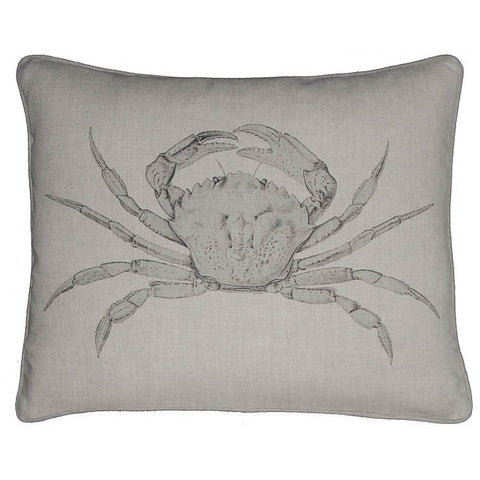 Down Filled Linen Pillow with Vintage Crab Print