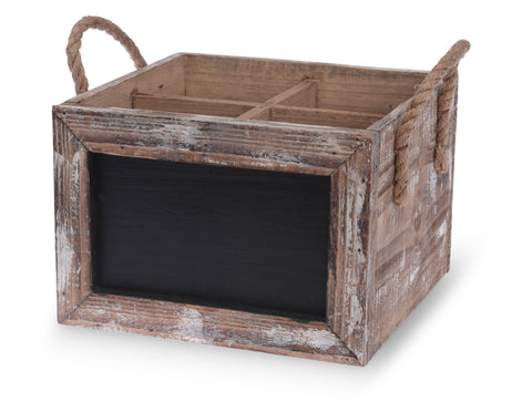 Wooden Bottle Crate with Chalkboard Front