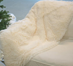 Light White Faux Fur Throw Blanket