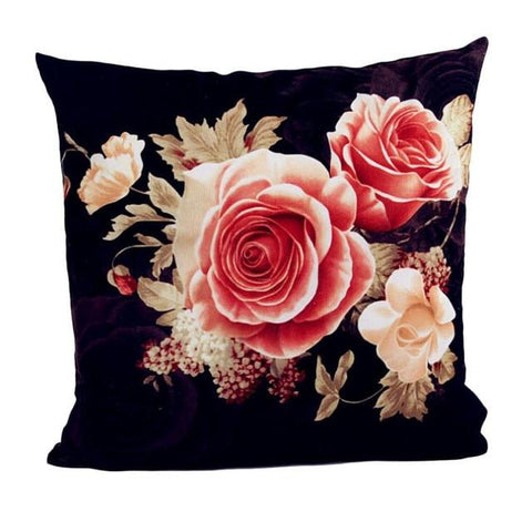 Vintage Floral Roses Printed Accent Cushion Cover - Adley & Company Inc.