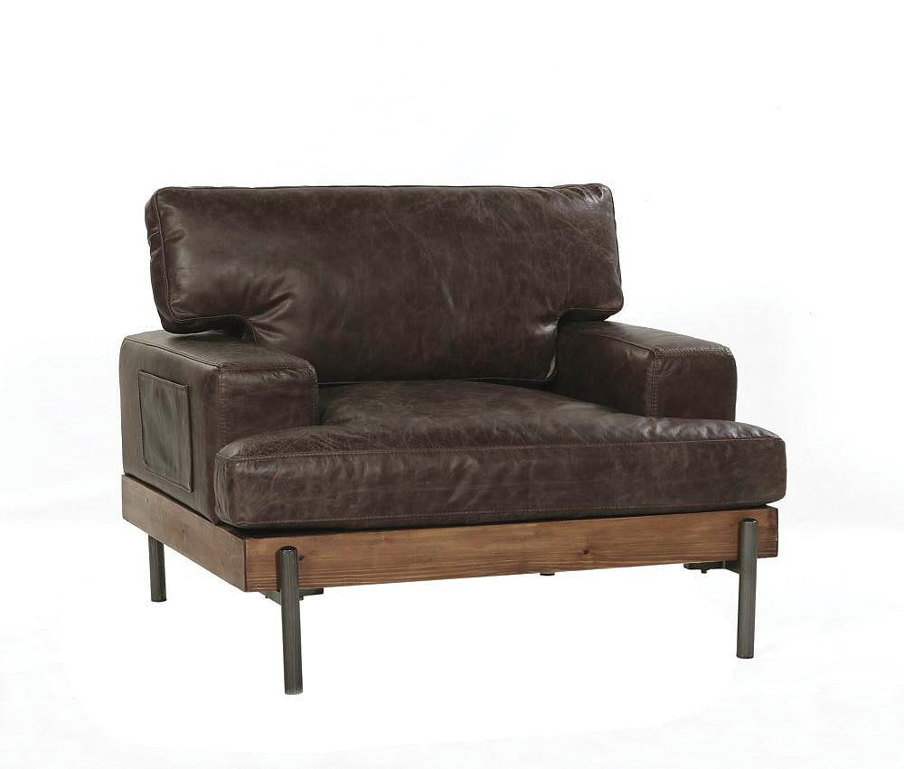 Vintage Style Leather Upholstered Club Chair,upholstered chair,Adley & Company Inc.
