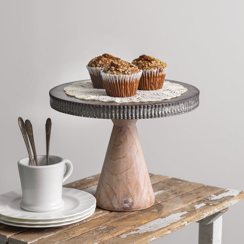 Metal Dessert Stand with Wood Base