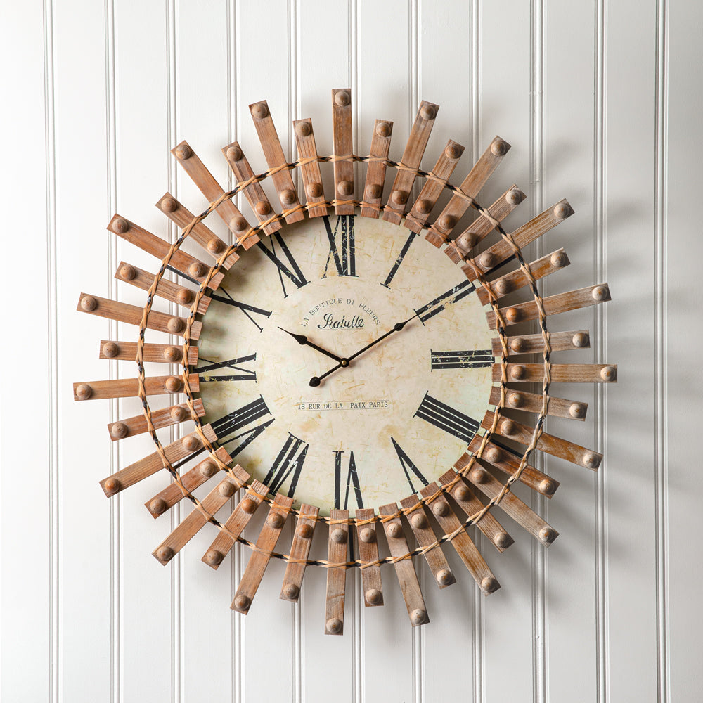 Wood Starburst French Wall Clock