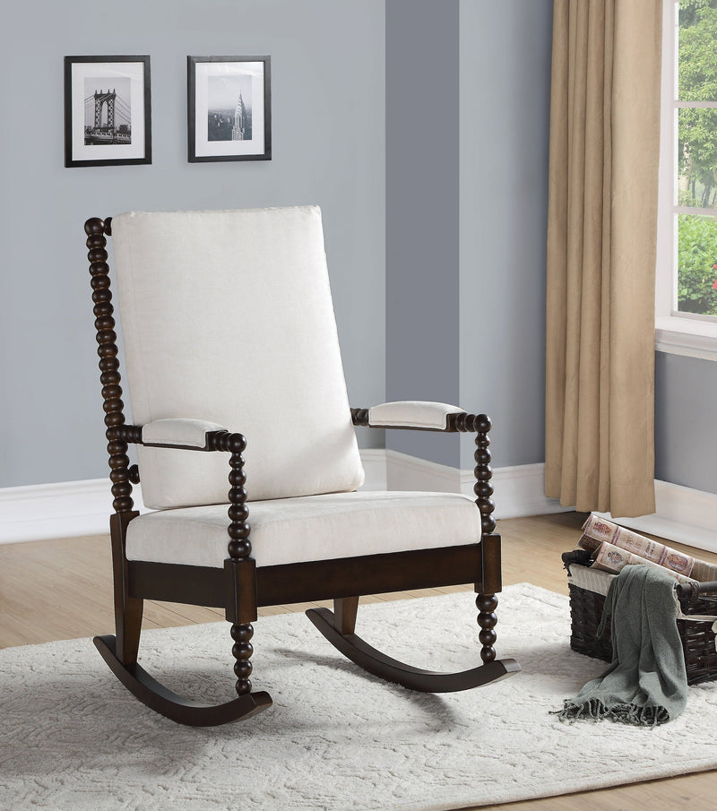 Coastal Style Upholstered Rocking Chair,chair,Adley & Company Inc.
