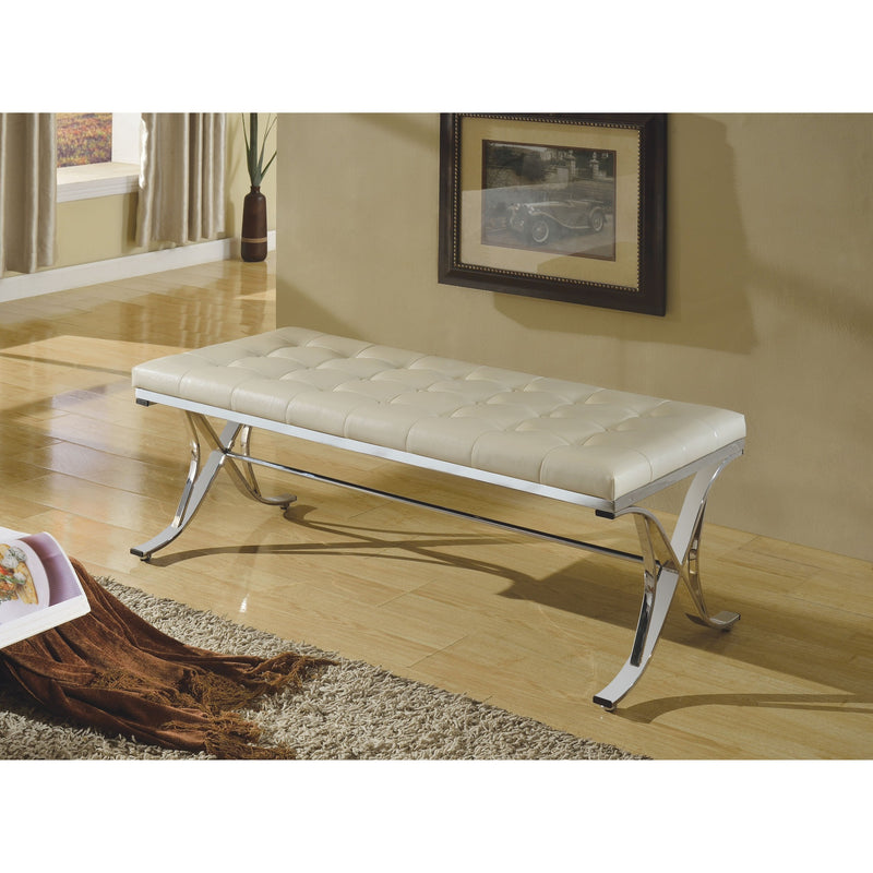 Faux Leather Tufted Chrome Bench,bench,Adley & Company Inc.