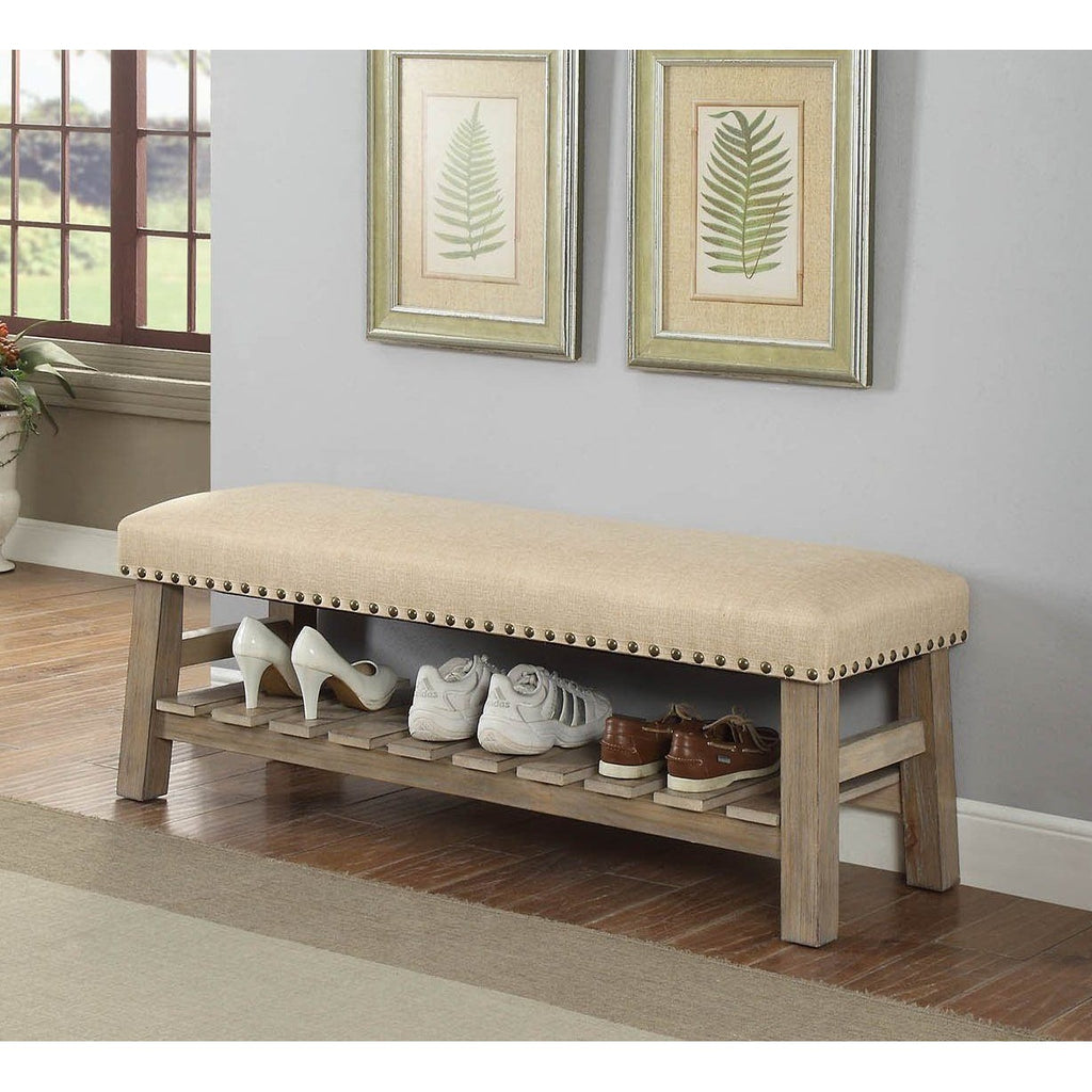 Nail Head Upholstered Accent Bench,bench,Adley & Company Inc.