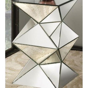 Hollywood Regency Mirrored Pedestal Side Table,mirrored table,Adley & Company Inc.