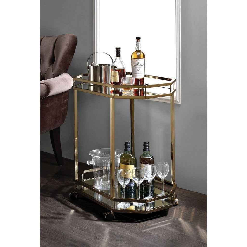 Hollywood Glam Gold Bar Cart,bar cart,Adley & Company Inc.