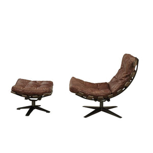 Vintage Styled Swivel Tufted Leather Chair and Ottoman