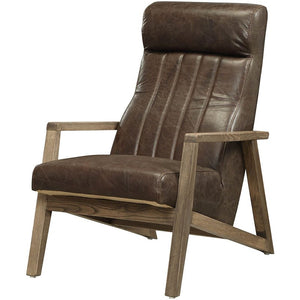 Chocolate Leather and Wood Accent Chair,accent chair,Adley & Company