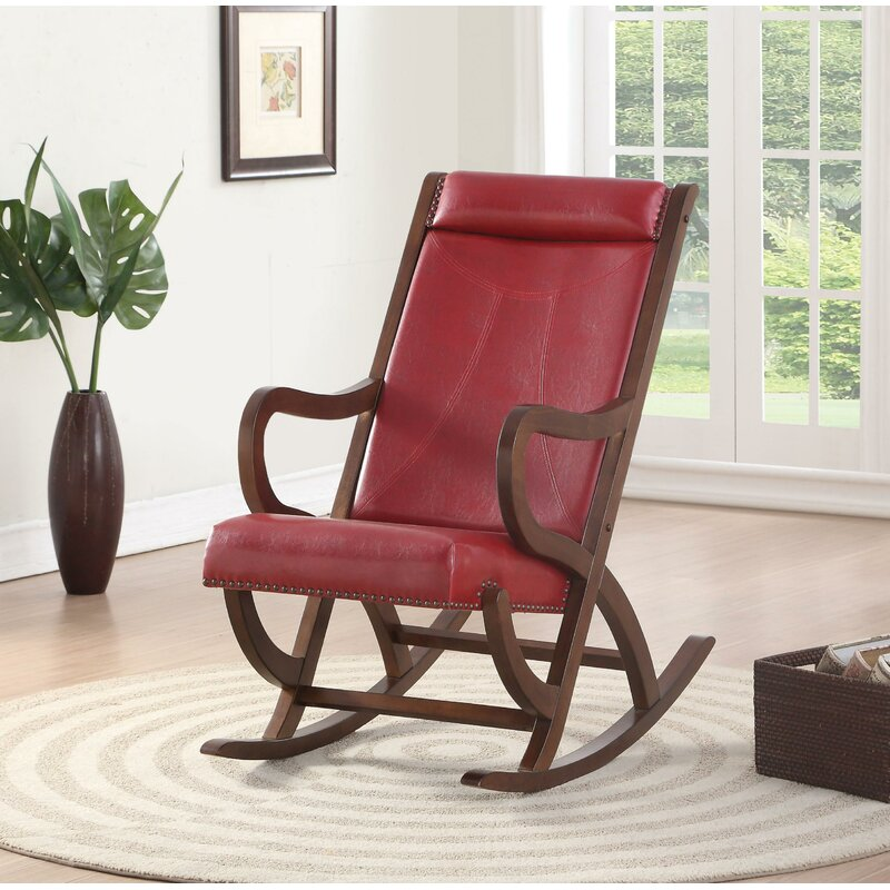 Faux Leather and Wood Rocking Chair,rocking chair,Adley & Company Inc.