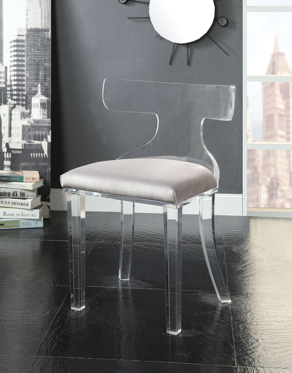 Ghost Side Chair with Cushion,chair,Adley & Company Inc.