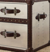 Vintage Leather & Aluminium Trunk Side Table, Nightstand,night stand,Adley & Company Inc.