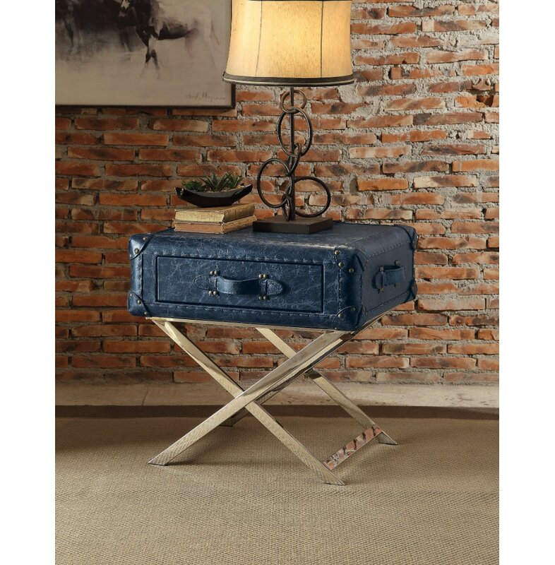 Captain's Style Trunk Side Table, Nightstand - Adley & Company Inc.