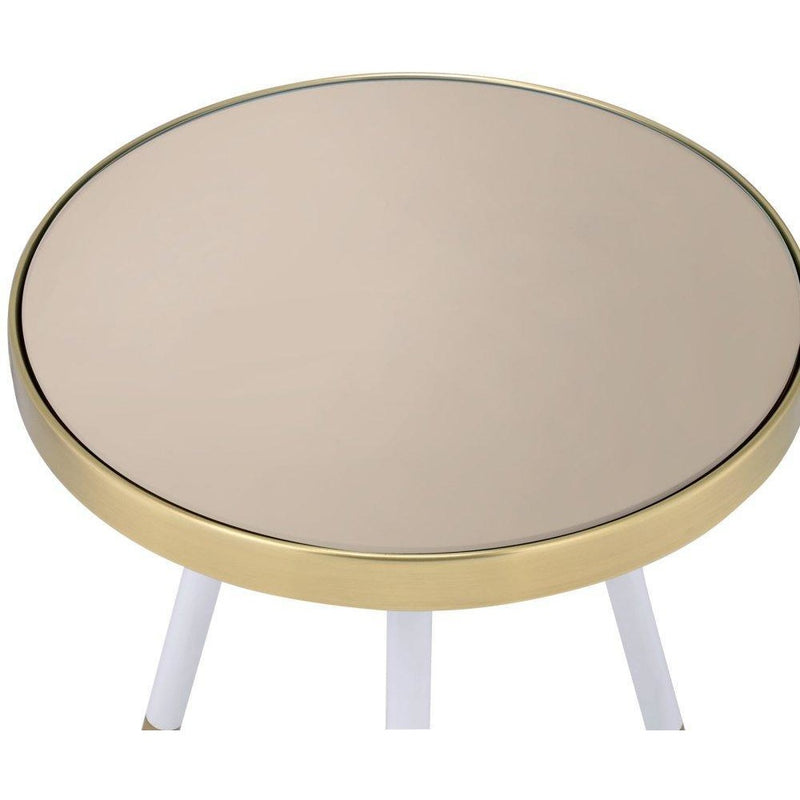 Round Antique Brass and Glass End Table,side table,Adley & Company Inc.
