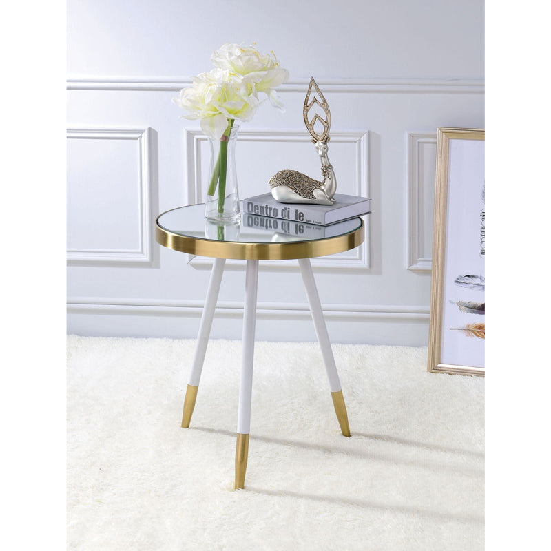 Antique Brass and Glass End Table,side table,Adley & Company Inc.