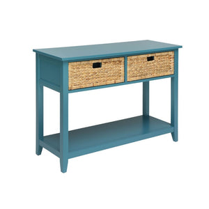 Coastal Console Table with Wicker Basket Drawers