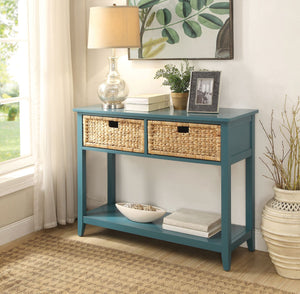 Coastal Console Table with Wicker Basket Drawers,console table,Adley & Company Inc.