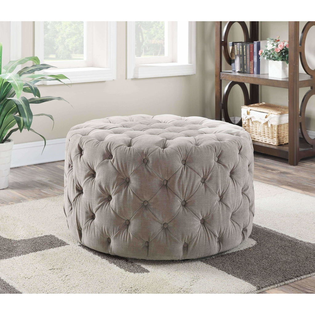 Tufted Round Cocktail Ottoman,ottoman,Adley & Company Inc.