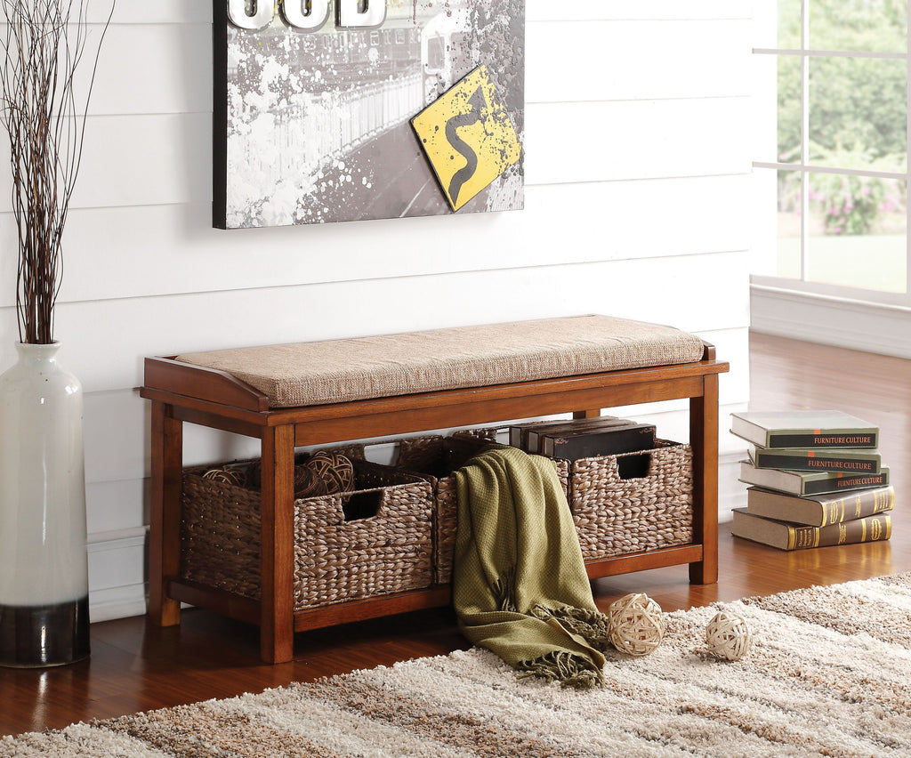 Cushioned Bench with Wicker Basket Storage,bench,Adley & Company Inc.