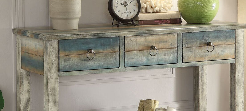Antique White & Teal Wood Console Table with Drawers,console table,Adley & Company Inc.