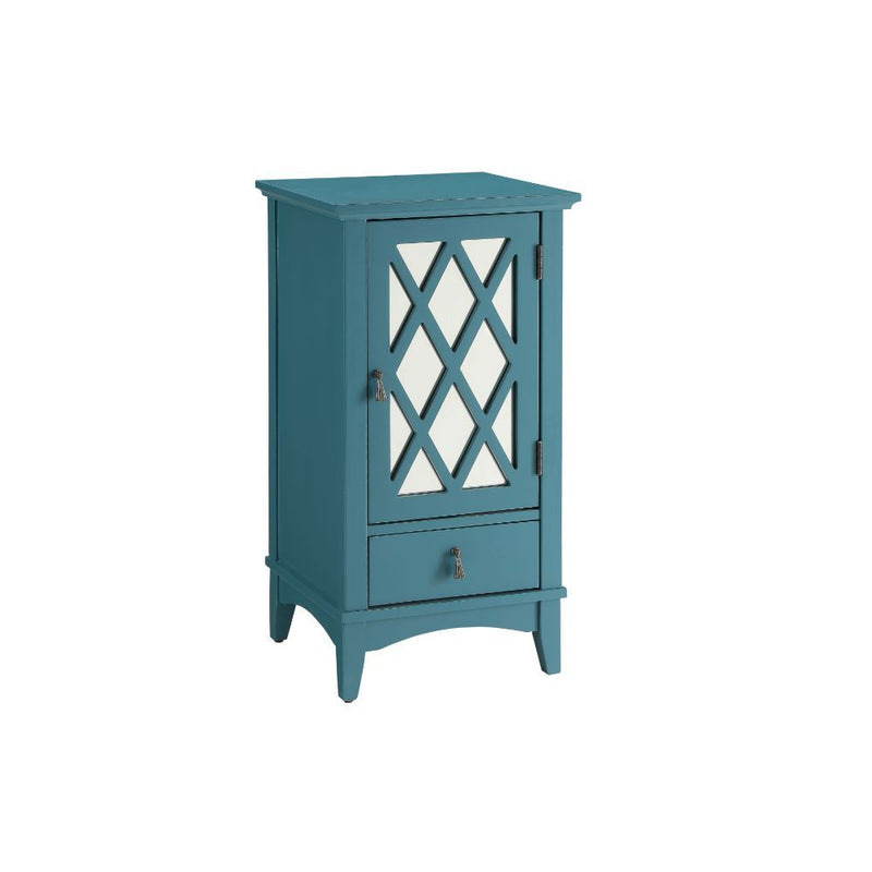 Teal Blue Mirrored Accent Cabinet