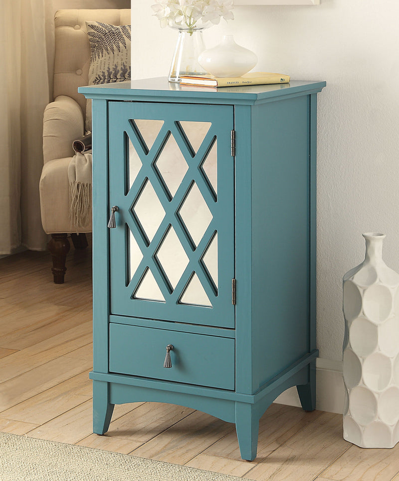 Teal Blue Mirrored Accent Cabinet,accent cabinet,Adley & Company Inc.