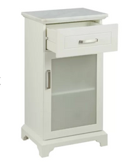 White Apothecary Storage Cabinet with Marble Top