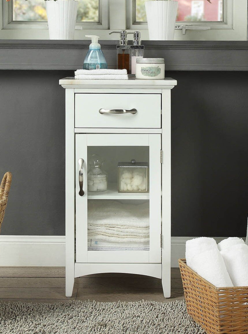 White Marble and Glass Front Accent Storage Cabinet