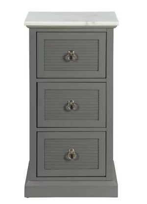 Grey & White Marble Shutter Drawer Accent Cabinet,bedside table,Adley & Company Inc.