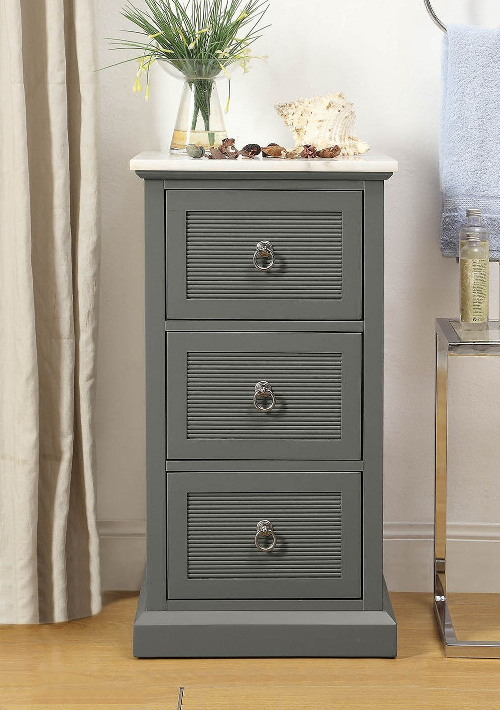 Grey & White Marble Shutter Drawer Accent Cabinet