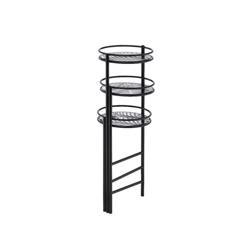 3-Tier Black Palm Leaf Metal Plant Stand,plant stand,Adley & Company Inc.