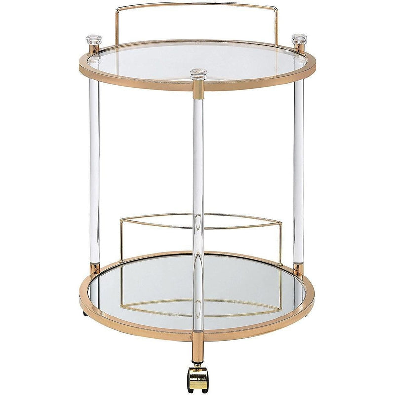 Round Gold and Glass Bar Cart,bar cart,Adley & Company Inc.