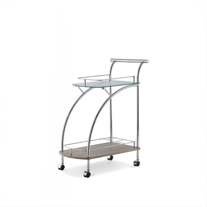 Chrome, Glass & Wood Small Trolley Cart