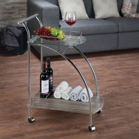 Chrome, Glass & Wood Small Trolley Cart,bar cart,Adley & Company Inc.