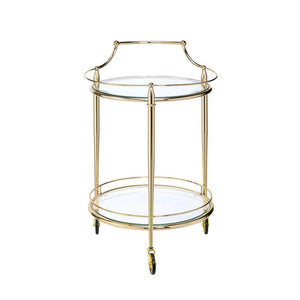 Gold & Clear Glass Round Bar Cart,bar cart,Adley & Company Inc.