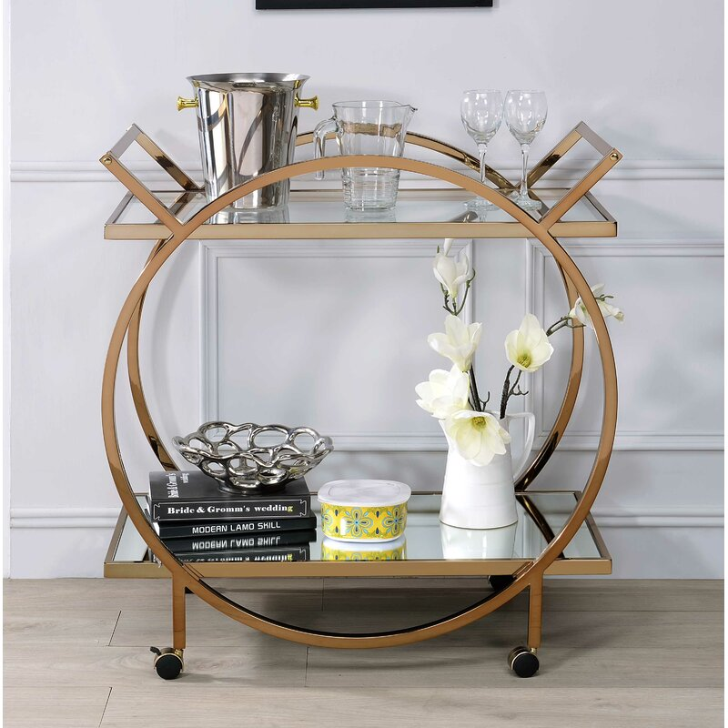 Champagne Gold and Glass Round Bart Cart,bar cart,Adley & Company Inc.