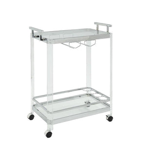 Chrome, Acrylic & Glass Bar Cart,bar cart,Adley & Company Inc.