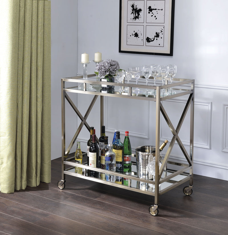 Antique Gold Metal & Mirrored Bar Cart,bar cart,Adley & Company Inc.