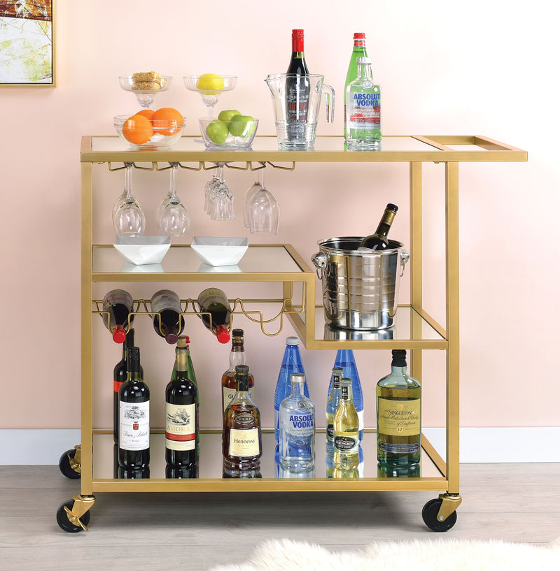 Champagne Gold & Mirrored Bar Cart,bar cart,Adley & Company Inc.