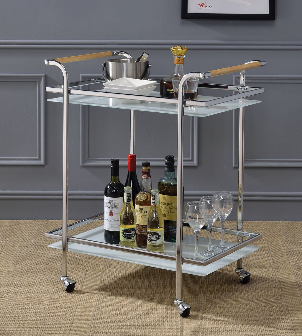 Chrome, Glass & Wood Bar Cart,bar cart,Adley & Company Inc.